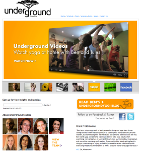 Underground Studios yoga video page